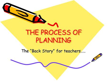 "THE PROCESS OF PLANNING The ""Back Story"" for teachers….."