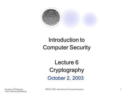 Courtesy of Professors Chris Clifton & Matt Bishop INFSCI 2935: Introduction of Computer Security1 October 2, 2003 Introduction to Computer Security Lecture.