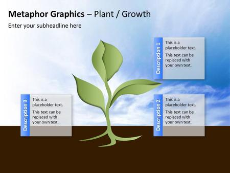 Metaphor Graphics – Plant / Growth Enter your subheadline here Description 1 This is a placeholder text. This text can be replaced with your own text.