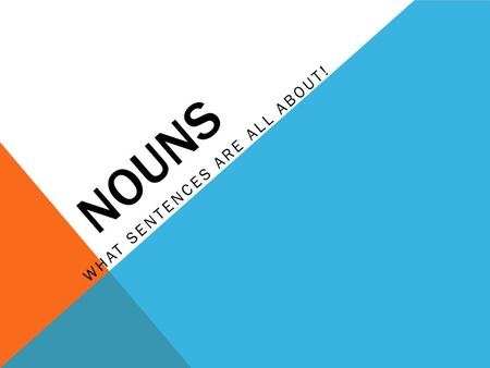 NOUNS WHAT SENTENCES ARE ALL ABOUT!. WHAT IS A NOUN?  A NOUN is a word or word group that is used to name a person, place, thing or idea.  Nouns can.
