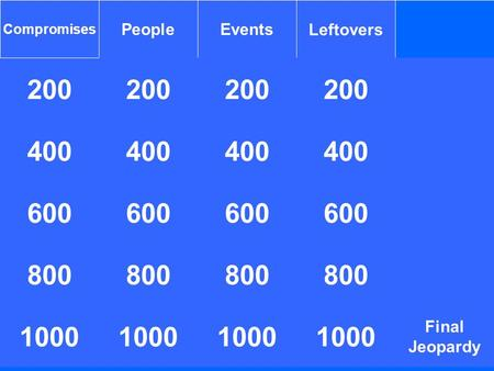 200 Compromises PeopleEventsLeftovers 200 400 1000 400 600 800 1000 800 1000 400 Final Jeopardy 800 1000.