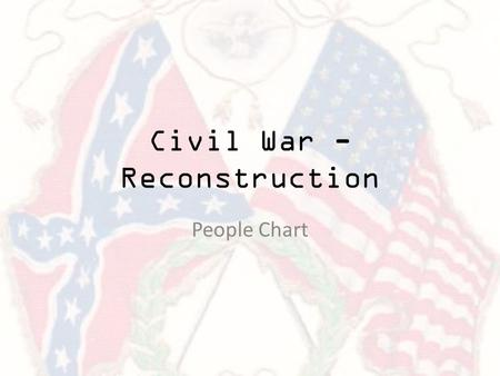 Civil War - Reconstruction People Chart. Dred Scott Slave who was moved from a slave state to a free state and sued for his freedom under the Missouri.