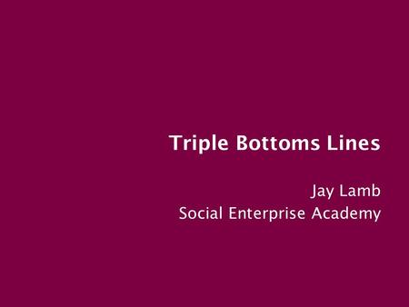 Triple Bottoms Lines Jay Lamb Social Enterprise Academy.
