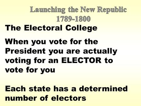 The Electoral College When you vote for the President you are actually voting for an ELECTOR to vote for you Each state has a determined number of electors.