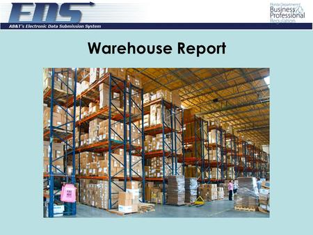 Warehouse Report. Log into EDS using your Email Address/User Id and Password. If you have forgotten your password, click on the Forgot Password? link.