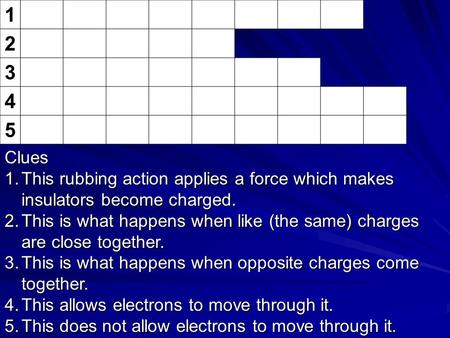 1 2 3 4 5 Clues 1.This rubbing action applies a force which makes insulators become charged. 2.This is what happens when like (the same) charges are close.