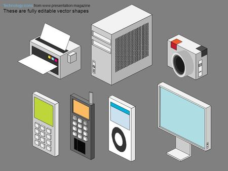 Technology icons from www.presentation magazine These are fully editable vector shapes.