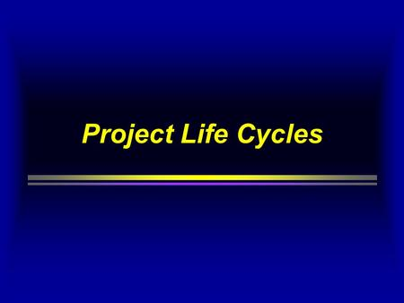 Project Life Cycles.