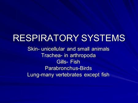 RESPIRATORY SYSTEMS Skin- unicellular and small animals Trachea- in arthropoda Gills- Fish Parabronchus-Birds Lung-many vertebrates except fish.