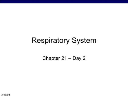 Respiratory System Chapter 21 – Day 2 3/17/08.