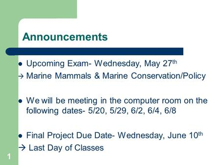 Announcements Upcoming Exam- Wednesday, May 27 th  Marine Mammals & Marine Conservation/Policy We will be meeting in the computer room on the following.
