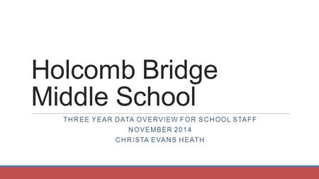 Holcomb Bridge Middle School THREE YEAR DATA OVERVIEW FOR SCHOOL STAFF NOVEMBER 2014 CHRISTA EVANS HEATH.