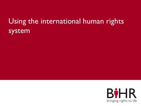 Main title Subheading Using the international human rights system.