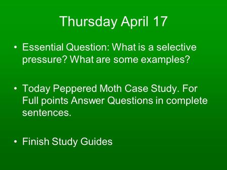 Thursday April 17 Essential Question: What is a selective pressure? What are some examples? Today Peppered Moth Case Study. For Full points Answer Questions.