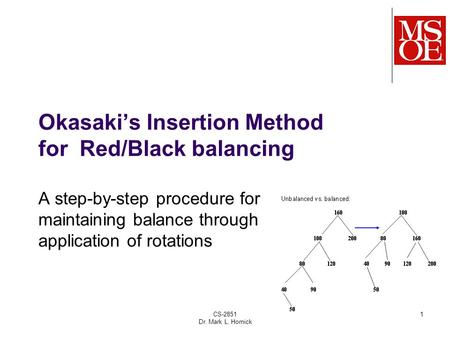 CS-2851 Dr. Mark L. Hornick 1 Okasaki's Insertion Method for Red/Black balancing A step-by-step procedure for maintaining balance through application of.