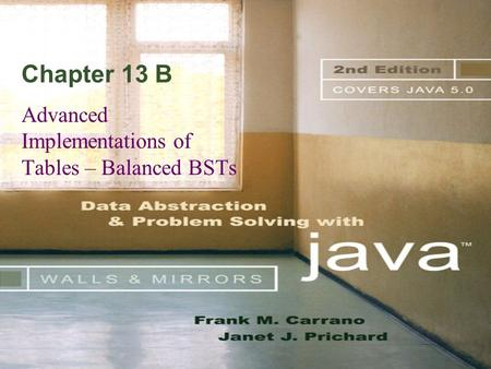 Chapter 13 B Advanced Implementations of Tables – Balanced BSTs.