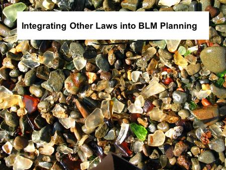 Integrating Other Laws into BLM Planning. Objectives Integrate legal requirements into the planning process. Discuss laws with review and consultation.