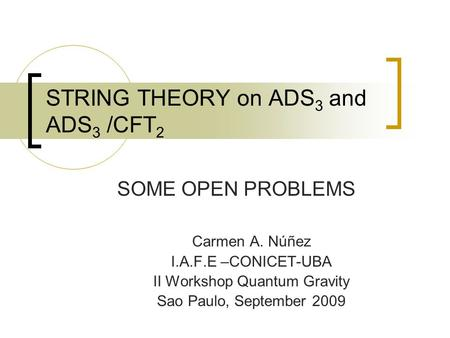 STRING THEORY on ADS 3 and ADS 3 /CFT 2 SOME OPEN PROBLEMS Carmen A. Núñez I.A.F.E –CONICET-UBA II Workshop Quantum Gravity Sao Paulo, September 2009.