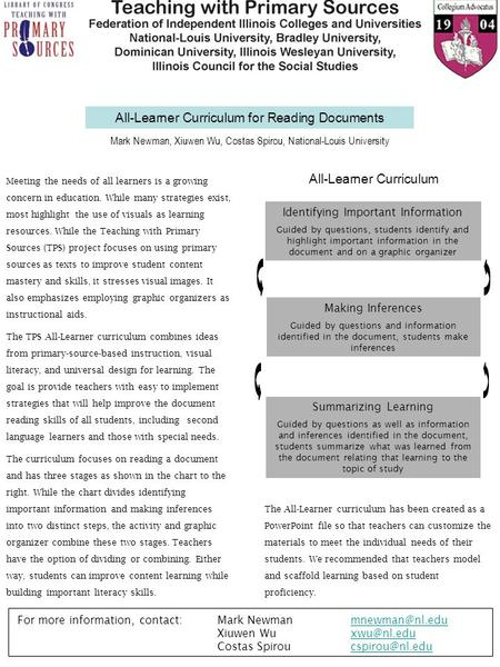 All-Learner Curriculum for Reading Documents Meeting the needs of all learners is a growing concern in education. While many strategies exist, most highlight.