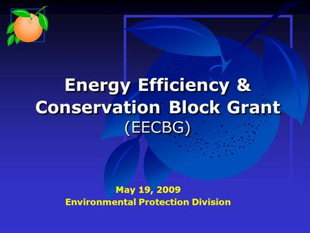 Energy Efficiency & Conservation Block Grant (EECBG) May 19, 2009 Environmental Protection Division.