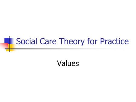 Social Care Theory for Practice Values. A Definition of Values Values are part of our personality and direct how we behave, think and therefore how we.