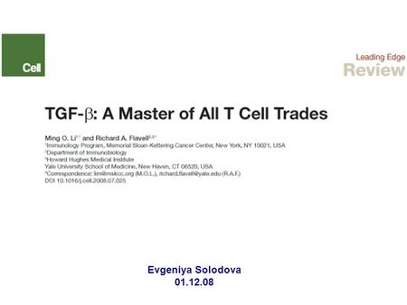 Evgeniya Solodova 01.12.08. Introduction: Regulatory cytokine transforming growth factor-β (TGF-β): - - is a secreted protein that exists in three isoforms.