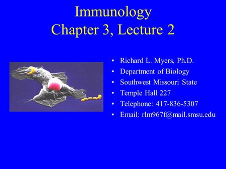 Immunology Chapter 3, Lecture 2 Richard L. Myers, Ph.D. Department of Biology Southwest Missouri State Temple Hall 227 Telephone: 417-836-5307