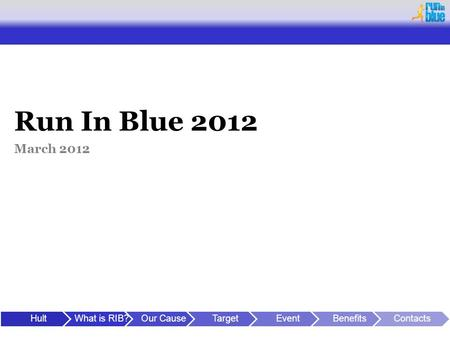 Run In Blue 2012 March 2012 HultWhat is RIB?Our CauseTargetEventBenefitsContacts.