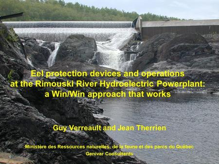 Eel protection devices and operations at the Rimouski River Hydroelectric Powerplant: a Win/Win approach that works Guy Verreault and Jean Therrien Ministère.