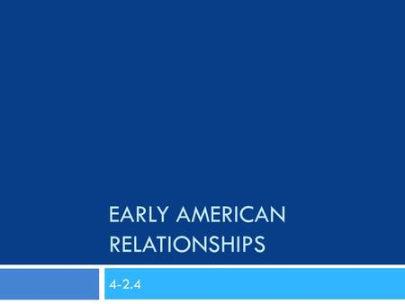 EARLY AMERICAN RELATIONSHIPS 4-2.4. Who Was All in America?  The Native Americans  The Africans  The Europeans  The French  The British.
