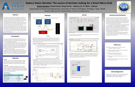 Battery Status Monitor: The source of decision making for a Smart Micro-Grid Daniel Rendon, Cheryl Limas, Greg Turner - Advisor, Dr. D. Wetz - Advisor.