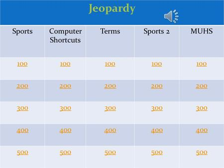 Jeopardy SportsComputer Shortcuts TermsSports 2MUHS 100 200 300 400 500.