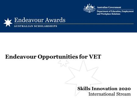 Skills Innovation 2020 International Stream Endeavour Opportunities for VET.