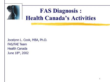 1 FAS Diagnosis : Health Canada's Activities Jocelynn L. Cook, MBA, Ph.D. FAS/FAE Team Health Canada June 18 th, 2002.