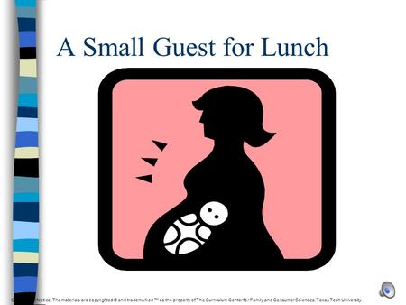 A Small Guest for Lunch Copyright © Notice: The materials are copyrighted © and trademarked ™ as the property of The Curriculum Center for Family and.