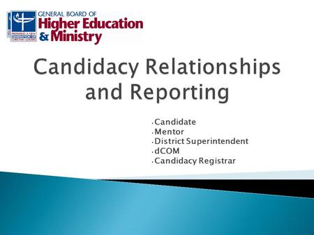 Candidate Mentor District Superintendent dCOM Candidacy Registrar.