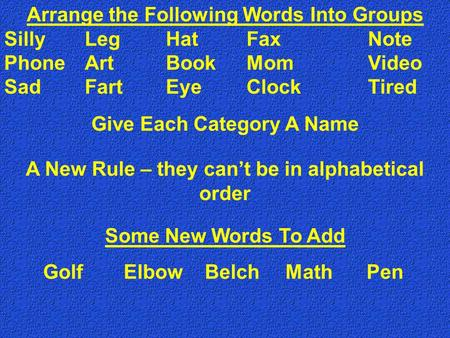 Arrange the Following Words Into Groups SillyLegHatFaxNote PhoneArtBookMomVideo SadFartEyeClockTired A New Rule – they can't be in alphabetical order Some.