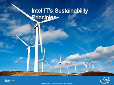 "1 – Consciously Manage Our Capabilities At Intel IT, we think ""green"" everyday with a long-term strategy for IT sustainability.long-term strategy."