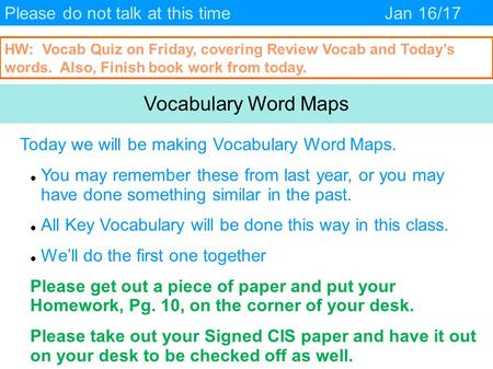 Vocabulary Word Maps Please do not talk at this time Jan 16/17