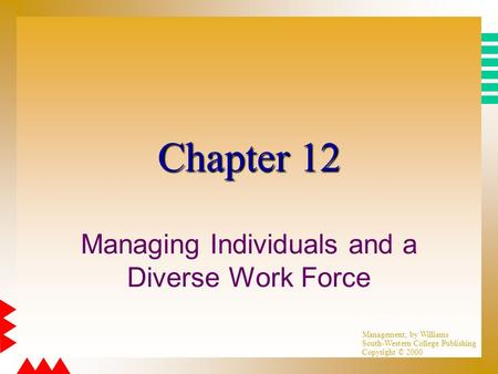 Management, by Williams South-Western College Publishing Copyright © 2000 Chapter 12 Managing Individuals and a Diverse Work Force.