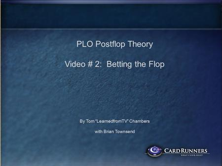 ttest PLO Postflop Theory Video # 2: Betting the Flop