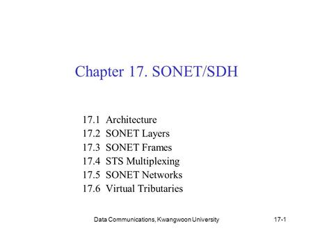 Data Communications, Kwangwoon University17-1 Chapter 17. SONET/SDH 17.1 Architecture 17.2 SONET Layers 17.3 SONET Frames 17.4 STS Multiplexing 17.5 SONET.