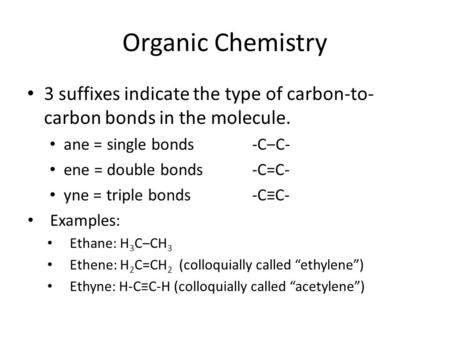 Organic Chemistry 3 suffixes indicate the type of carbon-to- carbon bonds in the molecule. ane = single bonds-C‒C- ene = double bonds-C=C- yne = triple.