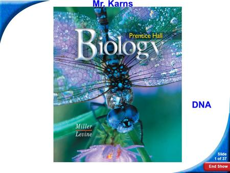 End Show Slide 1 of 37 Biology Mr. Karns DNA. End Show Slide 2 of 37 12–1 DNA.