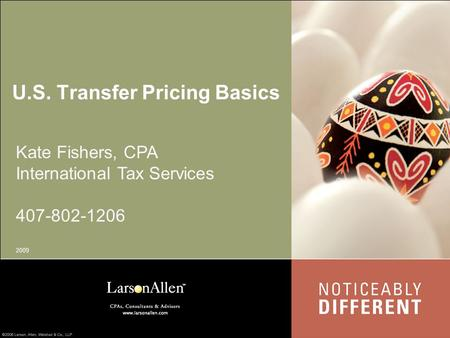 U.S. Transfer Pricing Basics Kate Fishers, CPA International Tax Services 407-802-1206 2009.