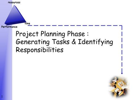 Resources Performance time Project Planning Phase : Generating Tasks & Identifying Responsibilities 1.