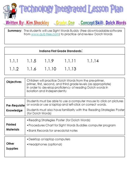 Summary : Indiana First Grade Standards : Objectives Pre-Requisite Knowledge Printed Materials Other Supplies 1.1.11.1.51.1.9 1.1.11 1.1.14 1.1.21.1.61.1.10.