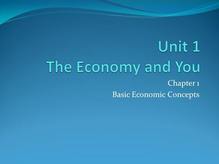 Chapter 1 Basic Economic Concepts. Vocabulary Wants Needs Goods Services Resources Business Profit Competition Market Research Consumer Determine Identify.