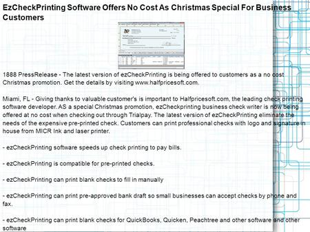 EzCheckPrinting Software Offers No Cost As Christmas Special For Business Customers 1888 PressRelease - The latest version of ezCheckPrinting is being.