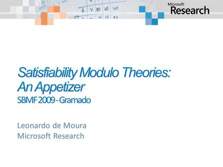 Leonardo de Moura Microsoft Research. Satisfiability Modulo Theories: An Appetizer Verification/Analysis tools need some form of Symbolic Reasoning.